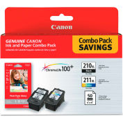 Canon® 2973B004 Inks & Paper Pack, PGI-210XL, CL211XL, 2 Inks & 50 Sheets 4 x 6 Paper