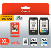 Canon® 8278B005 Inks & Paper Pack, PG245, CL-246 XL, 50 Sheets, 4 x 6