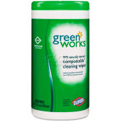 Green Works Naturally Derived Wipes, Citrus Blend, 62/Canister - COX30380