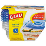 Glad® GladWare Plastic Square Containers with Lids, 25 Oz., Clear/Blue, 5/Pack