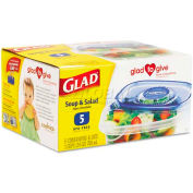 Glad® GladWare Soup and Salad Food Container w/Lid, 24 oz., Plastic, Clear, 30/Carton