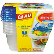 Glad® GladWare Plastic Soup and Salad Containers with Lids, 24 Oz., Clear/Blue, 5/Pack