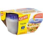 Glad® GladWare Deep Dish Food Container w/Lid, 64 oz, Plastic, Clear, 18/Carton