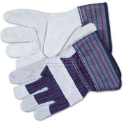"MCR Safety 12010XL Split Leather Palm Gloves, Gray, C-Grade, 2-1/2"" Rubber Safety Cuff, 1-Pair"