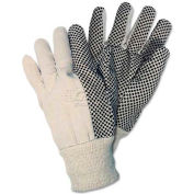 Memphis 8808 Dotted Canvas Gloves, White, Dozen