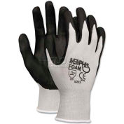 Memphis 9673L Economy Foam Nitrile Gloves, Large, Gray/Black, Dozen