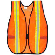 "MCR Safety V201R Orange Safety Vest, 2"" Reflective Strips, Polyester, Side Straps, One Size"