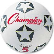 Champion Sports SRB4 Rubber Sports Ball, For Soccer, No. 4, White/Black