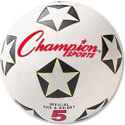 Champion Sports SRB5 Rubber Sports Ball, For Soccer, No. 5, White/Black