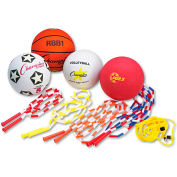 Champion Sports UPGSET2 Physical Education Kit w/Seven Balls, 14 Jump Ropes, Assorted Colors