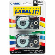 Casio® Tape Cassettes for KL Label Makers, 18mm x 26ft, Black on White, 2/Pack