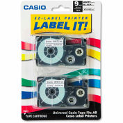 Casio® Tape Cassettes for KL Label Makers, 9mm x 26ft, Black on White, 2/Pack