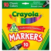 Crayola® Non-Washable Markers, Broad Point, Classic Colors, 10/Set
