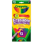 Crayola® Erasable Colored Woodcase Pencils, 3.3 mm, 12 Assorted Colors/Set