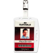 Durable® Shell-Style ID Card Holder, Vertical/Horizontal, With Clip, Clear, 25/Pack