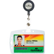 Durable® Shell-Style ID Card Holder, Vertical/Horizontal, With Reel, Clear, 10/Pack