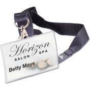 "Durable® Click-Fold Convex Name Badge Holder, 17"" Necklace, 3-3/4"" x 2-1/4"", Clear, 10/Pk"
