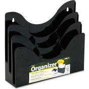 "deflect-o 47634 Three-Tier Document Organizer w/Dividers, 13-3/8""W x 3-1/2""D x 11-1/2""H, Black"
