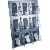 "deflect-o 56801 Multi-Pocket Wall-Mount Literature Systems, 27-3/8""W x 2-7/8""D x 35-1/4""H, Clear/BK"