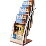 "deflect-o 693645 Three-Tier Leaflet Holder, 6-3/4""W x 6-15/16""D x 13-5/16""H, Silver"