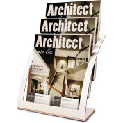 "deflect-o DEF693745 Three-Tier Magazine Holder, 11-1/4""W x 6-15/16""D x 13-5/16""H, Silver"