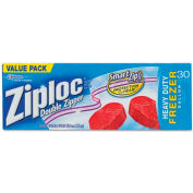 ZIPLOC® DRACB003820BX Double Zipper Freezer Bags,Plastic,1 gal,2.7 mil,Clear,30/Box