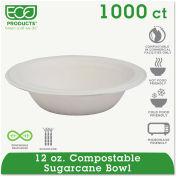 Eco-Products® Compostable Sugarcane Dinnerware, 12 oz. Bowl, White, 1000/Carton