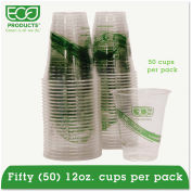 Eco-Products® GreenStripe Renewable Resource Cold Drink Cups, 12 oz, Translucent, 50/Pack