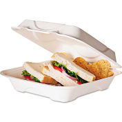 Eco-Products® Sugarcane Clamshell Food Container, 3 x 8 x 8, White, 200/Carton