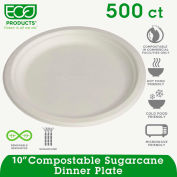"""Eco-Products® Compostable Sugarcane Dinnerware, 10"""" Plate, Natural White, 500/Carton"""