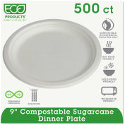 "Eco-Products® Compostable Sugarcane Dinnerware, 9"" Plate, Natural White, 500/Carton"