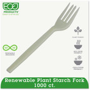 Eco-Products® HY-S002, Fork, Plantstarch (PSM), Cream, 1000/Carton