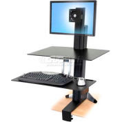 Ergotron® WorkFit-S Sit-Stand Workstation w/Worksurface, For Standard Monitor, Black