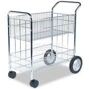 Fellowes® 40912 Chrome Wire Mail Cart 37.5 x 21.5 x 39.5