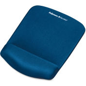 "Fellowes® PlushTouch Mouse Pad with Wrist Rest, Foam, Blue, 7-1/4"" x 9-3/8"""