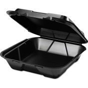 """Hinged Lid Foam Food Container 9-1/4"""" x 9-1/4"""" x 3"""" 1 Compartment - 200 Pack"""