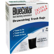 BlueCollar Tall Kitchen Drawstring Trash Bags - White, 13 Gallon, 0.8 Mil, 240/Case - N4828EWRC1