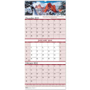 House of Doolittle™ Scenic Compact Three-Month Horizontal Wall Calendar, 8 x 17, 2015-2017