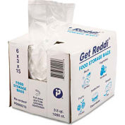 "Get Reddi Food & Poly Bag Clear 6"" x 3"" x 15"" 3.5 Quart .68 Mil - 1000 Pack"