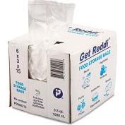 "Get Reddi Food & Poly Bag Clear 6"" x 3"" x 15"" 3.5 Quart .68 Mil - 1000 Pack"