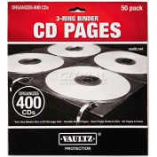Vaultz VZ01415 Two-Sided CD Refill Pages for Three-Ring Binder, 50/Pack