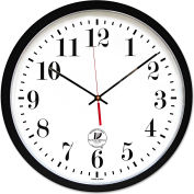"Chicago Lighthouse Atomic Slimline Contemporary Clock, 16-1/2"", Black"