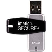 imation 28908 Secure+ Hardware-Encrypted USB 2.0 Flash Drive, 64 GB