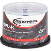 Innovera IVR46830 DVD-R Discs, Hub Printable, 4.7GB, 16x, Spindle, Matte White, 50/Pack