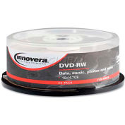 Innovera IVR46848 DVD-RW Discs, 4.7GB, 4x, Spindle, Silver, 25/Pack