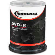 Innovera 46891 DVD+R Discs, 4.7GB, 16x, Spindle, Silver, 100/Pack