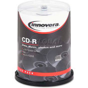 Innovera 77815 CD-R Discs, Hub Printable, 700MB/80min, 52x, Spindle, Matte White, 100/Pack