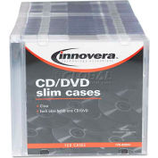 Innovera 85800 CD/DVD Polystyrene Thin Line Storage Case, Clear, 100/Pack