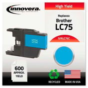 Innovera® Compatible Remanufactured High-Yield LC75C Ink, 600 Page-Yield, Cyan