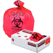 "Jaguar Plastics® Health Care ""Biohazard"" Liners 55 Gallon 1.35 Mil, Red 100 Bags/Box-JAGIW3658R"